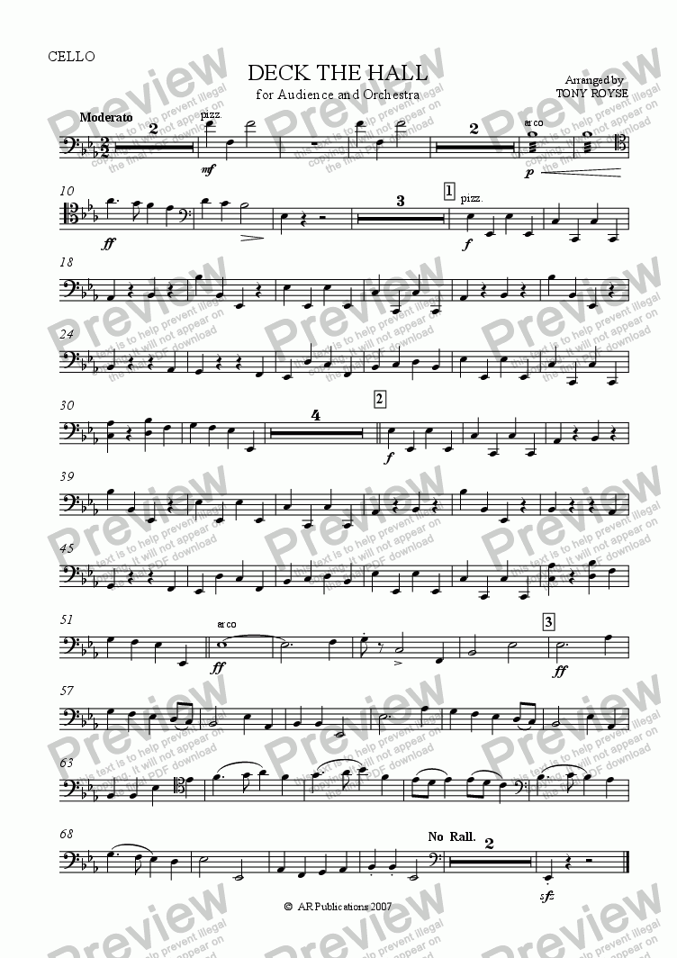 page one of the Cello part from Deck The Hall