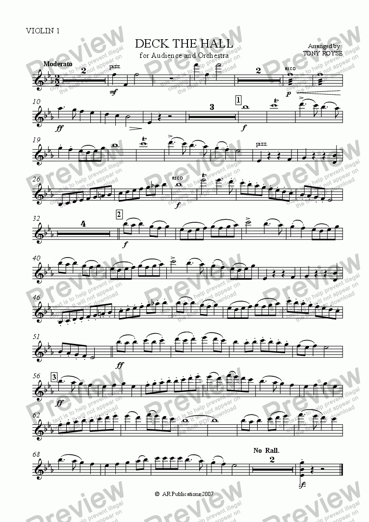 page one of the Violin 1 part from Deck The Hall