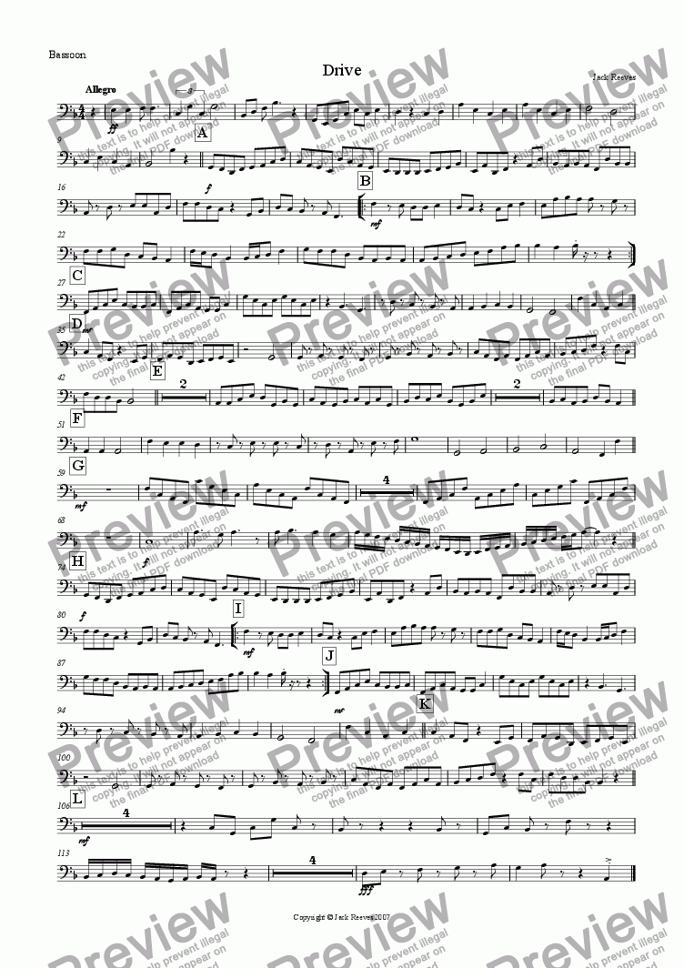 page one of the Bassoon part from Drive (Low Wind Quartet with Piano)