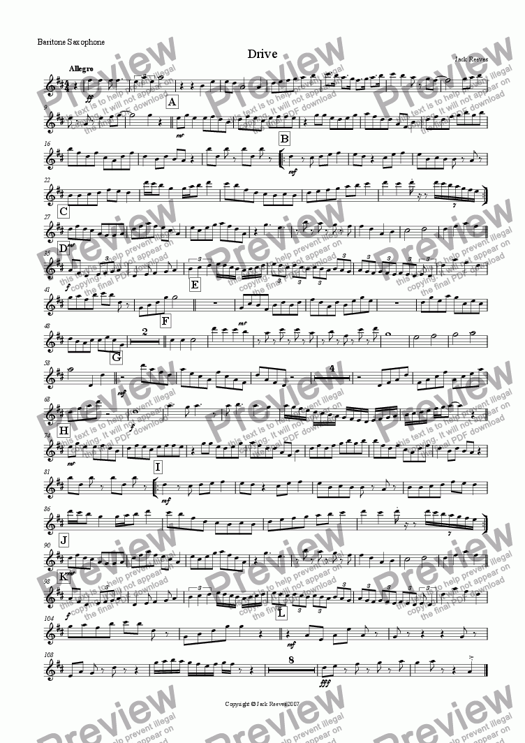 page one of the Baritone Saxophone part from Drive (Low Wind Quartet with Piano)