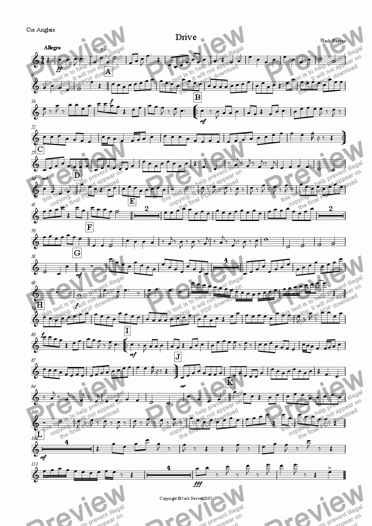 page one of the Cor Anglais part from Drive (Mid Wind Quartet with Piano)