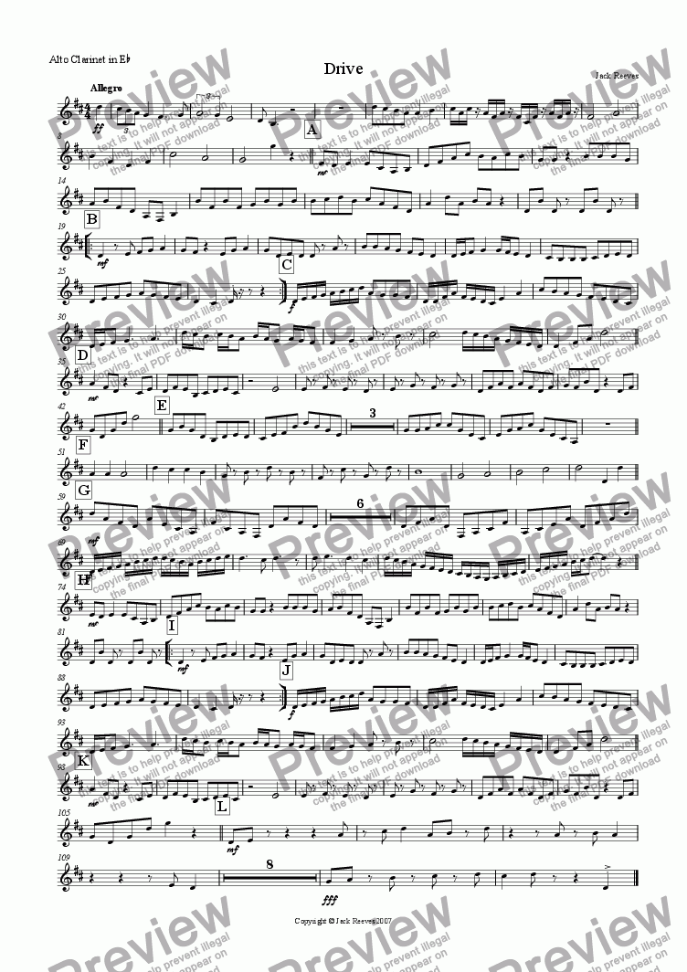 page one of the Alto Clarinet part from Drive (Mid Wind Quartet with Piano)