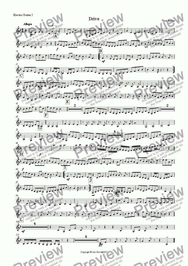 page one of the Electric Guitar 2(Notation) part from Drive (Rock Ensemble)