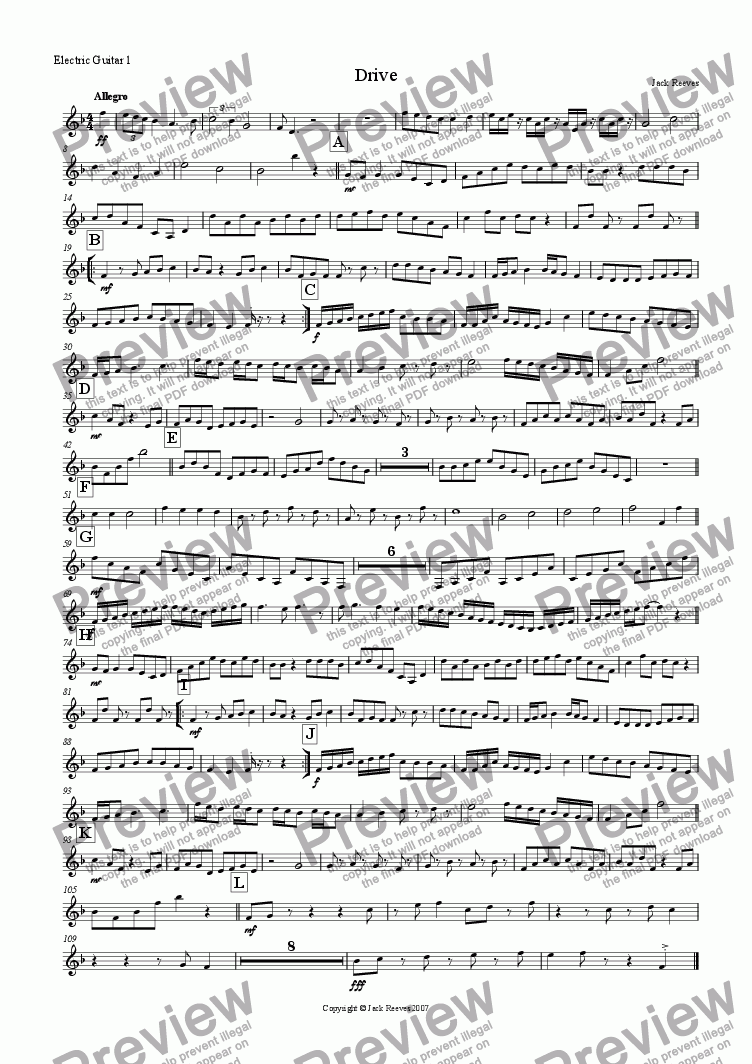 page one of the Electric Guitar 1(Notation) part from Drive (Rock Ensemble)