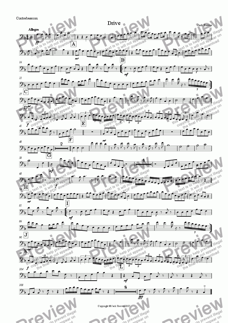 page one of the Contrabassoon part from Drive (Low Pitched Quartet with Piano)