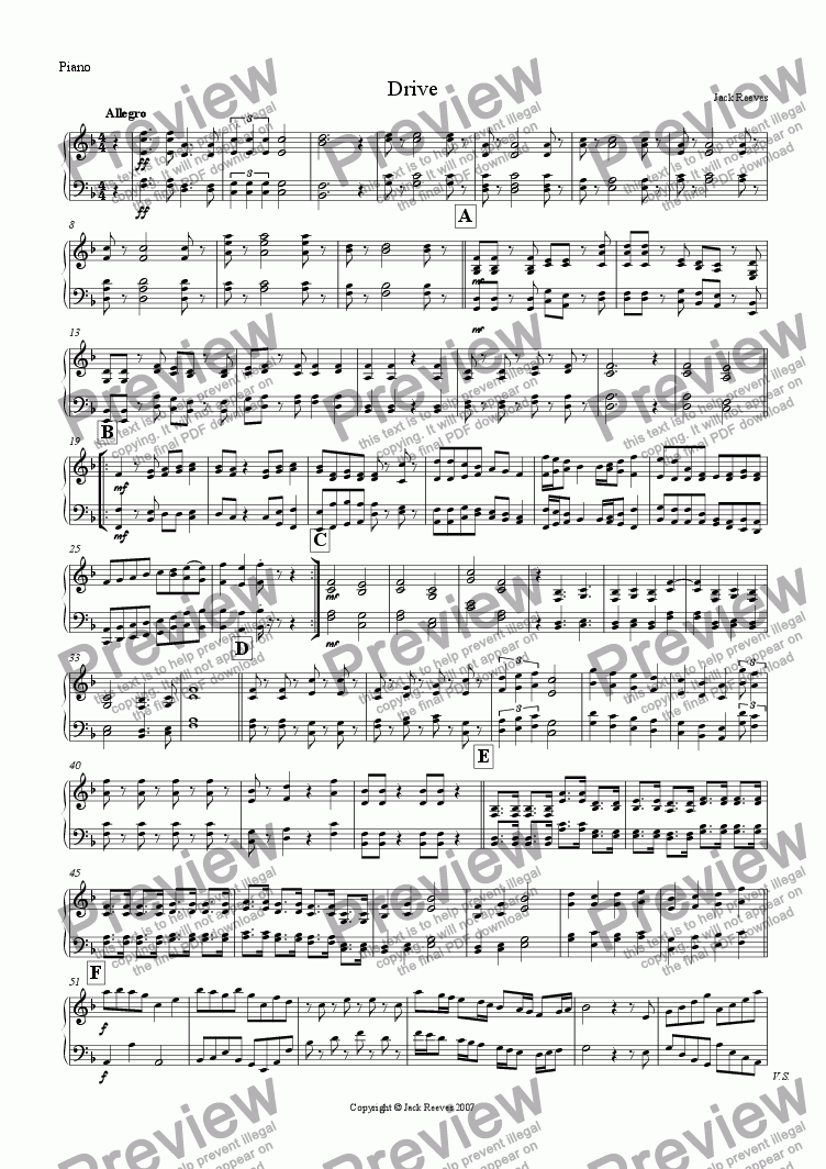 page one of the Piano part from Drive (Low Pitched Quartet with Piano)