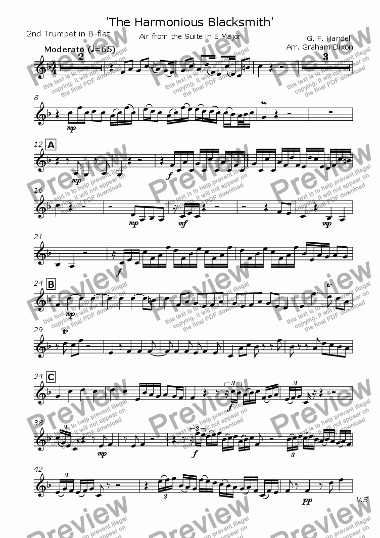 page one of the Trumpet 2 part from The Harmonious Blacksmith for Brass Quintet