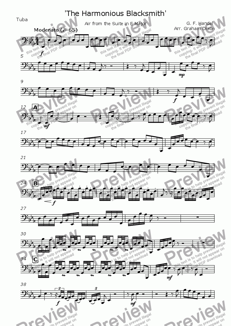 page one of the Tuba part from The Harmonious Blacksmith for Brass Quintet