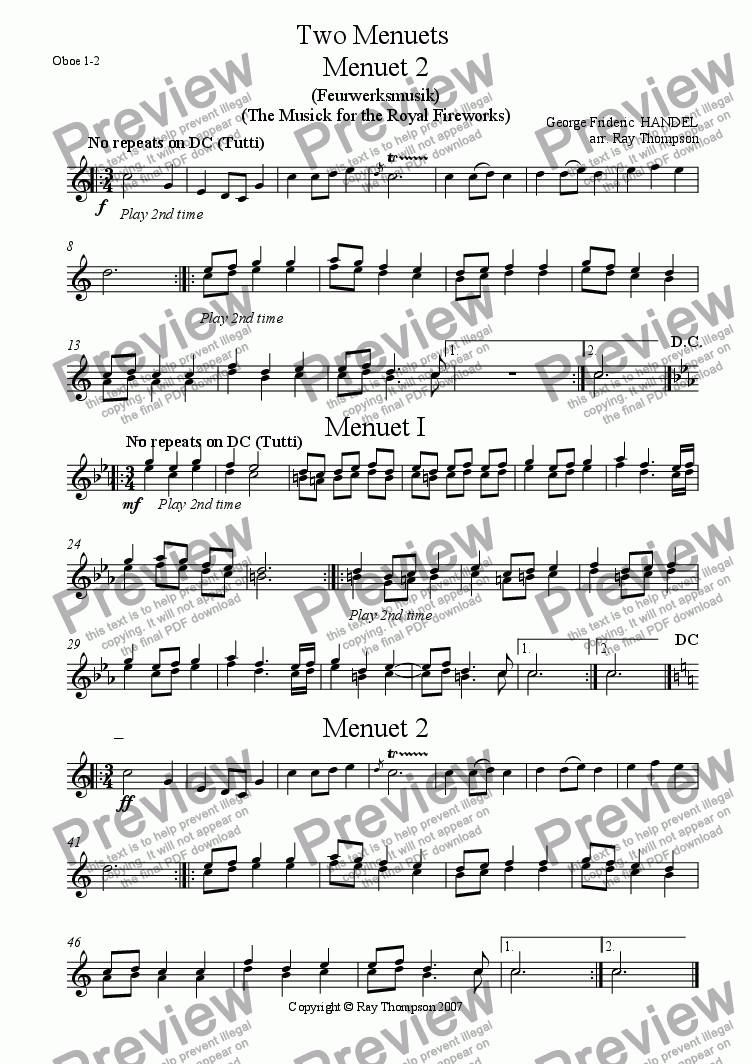 page one of the oboe1/2 part from Handel: Menuets 1 & 2 from the Musick (Music) for the Royal Fireworks ( Feuerwerksmusik) - concert band