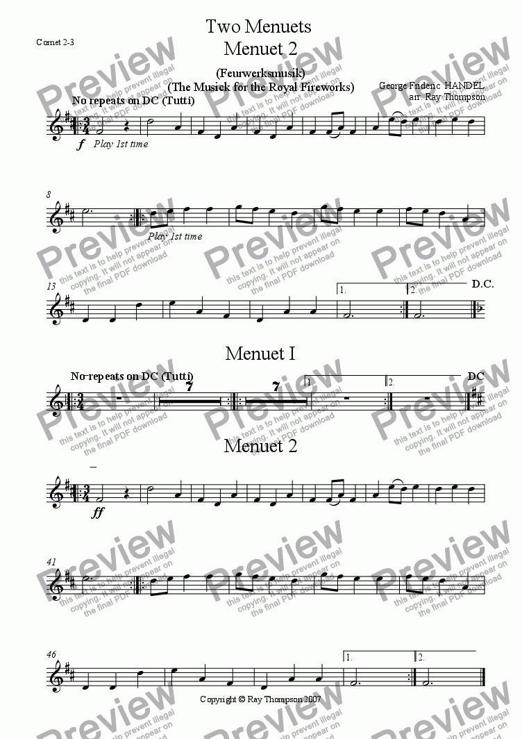 page one of the Cornet/Trumpet 2/3 part from Handel: Menuets 1 & 2 from the Musick (Music) for the Royal Fireworks ( Feuerwerksmusik) - concert band