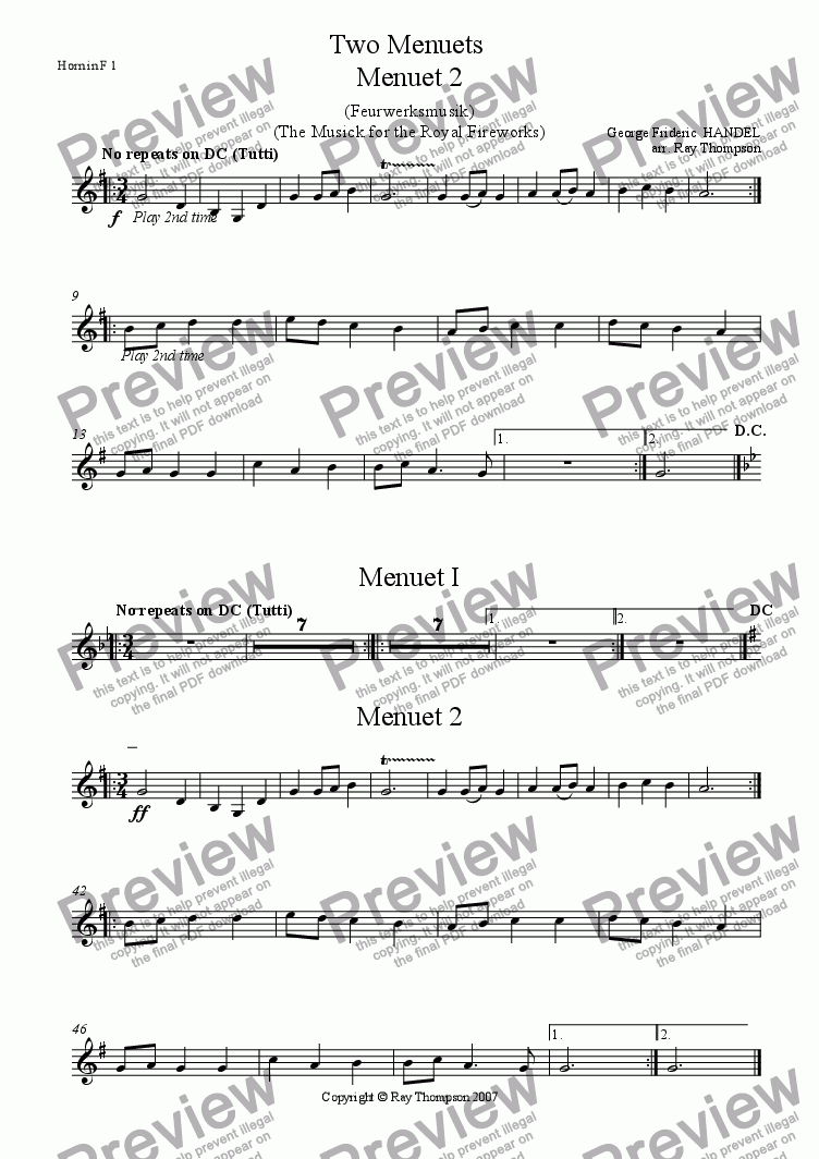 page one of the Horn in F 1 part from Handel: Menuets 1 & 2 from the Musick (Music) for the Royal Fireworks ( Feuerwerksmusik) - concert band