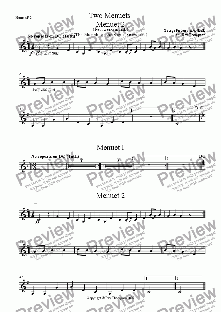 page one of the Horn in F 2 part from Handel: Menuets 1 & 2 from the Musick (Music) for the Royal Fireworks ( Feuerwerksmusik) - concert band