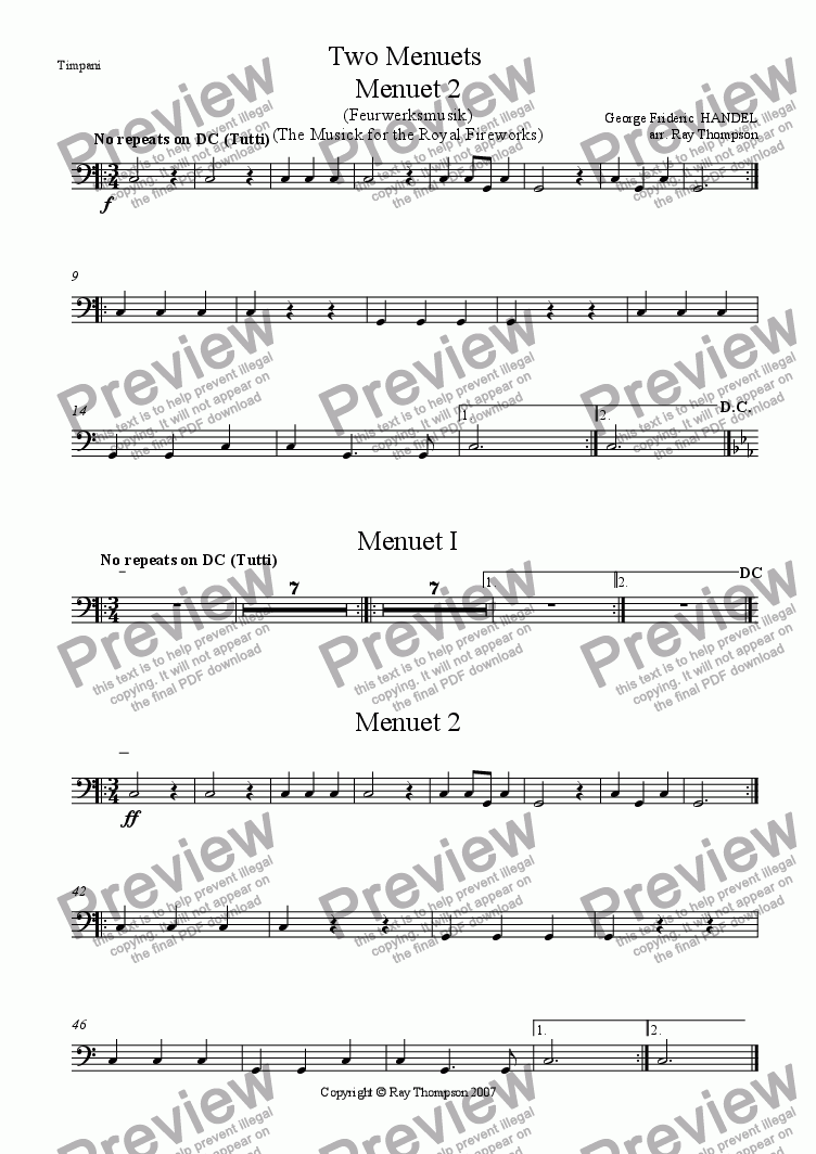 page one of the Timpani part from Handel: Menuets 1 & 2 from the Musick (Music) for the Royal Fireworks ( Feuerwerksmusik) - concert band