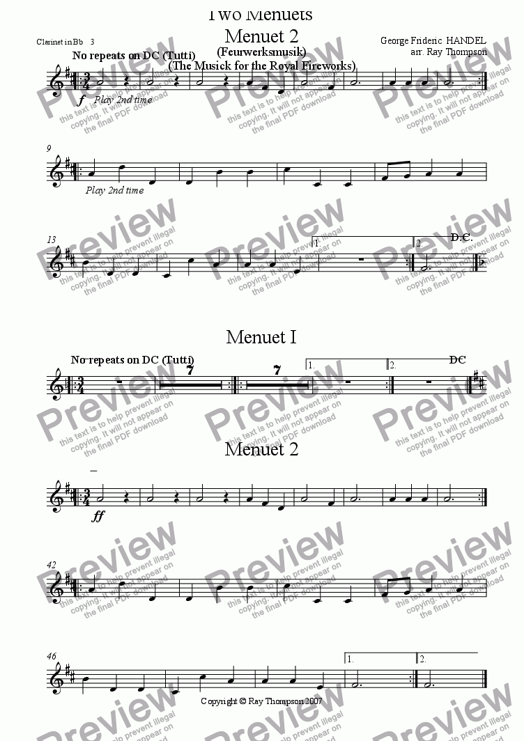 page one of the Clarinet 3 part from Handel: Menuets 1 & 2 from the Musick (Music) for the Royal Fireworks ( Feuerwerksmusik) - concert band