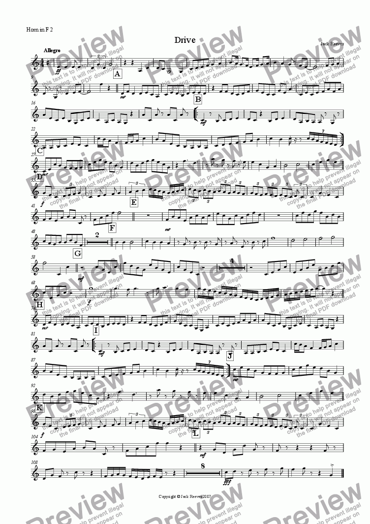 page one of the Horn in F 2 part from Drive (Horn in F Quartet with Piano)