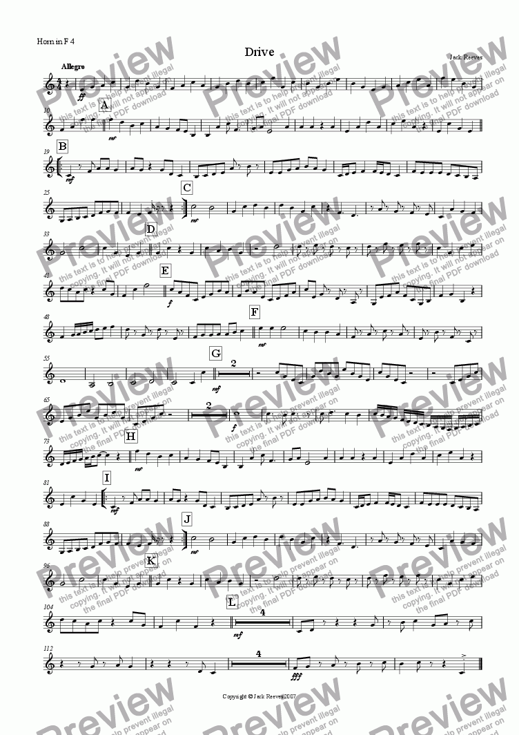 page one of the Horn in F 4 part from Drive (Horn in F Quartet with Piano)