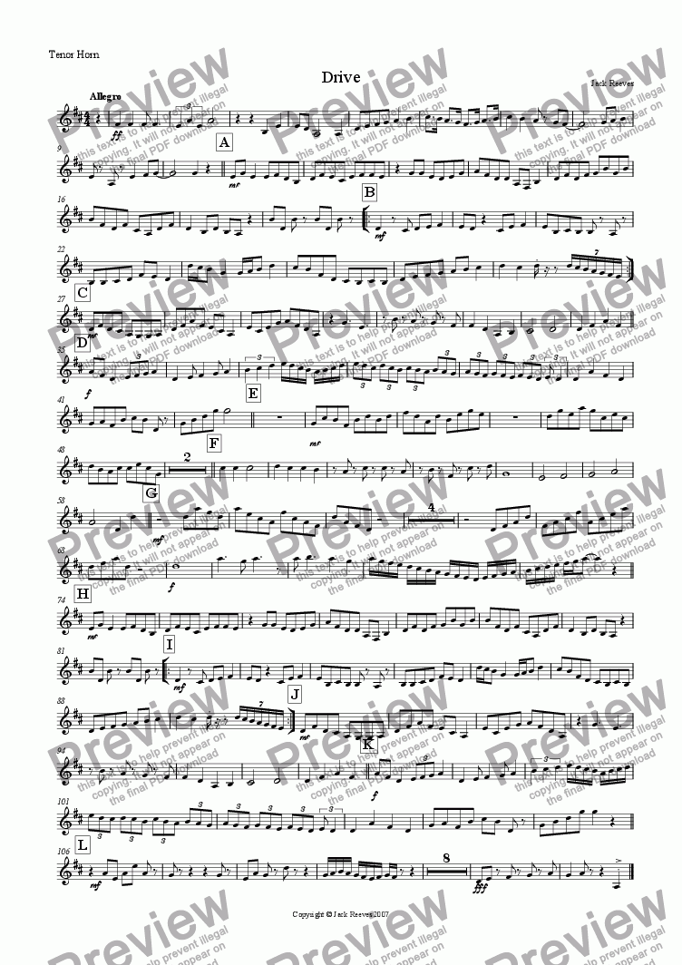 page one of the Horn in Eb part from Drive (Modern Brass Quartet with Piano)