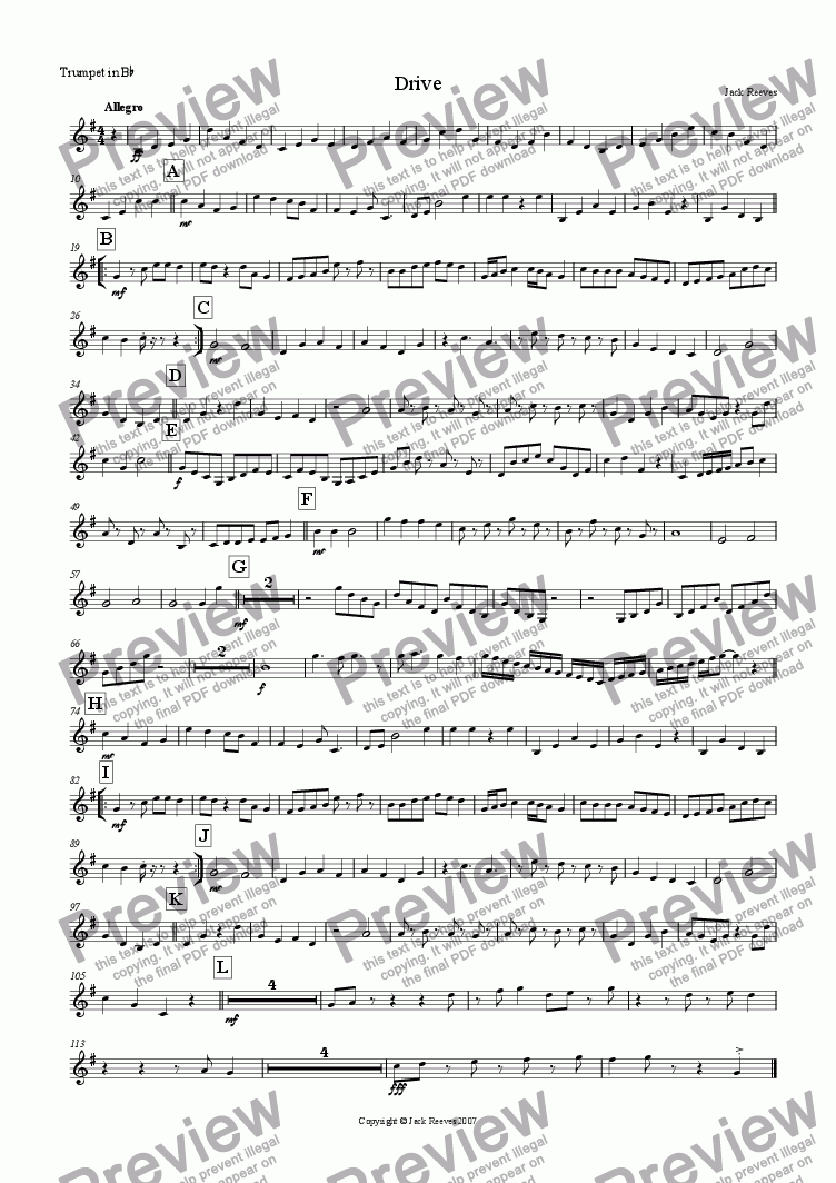 page one of the Trumpet in Bb part from Drive (Very High Brass Quartet with Piano)