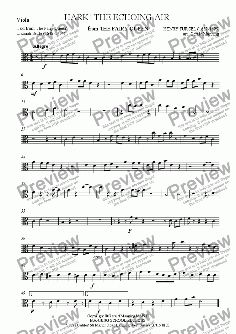 page one of the Viola part from Reliquary of Sacred Music - Purcell, Henry - Hark! The Echoing Air from 'The Fairy Queen' - arr. for High Voice & String Quartet  by Gerald Manning