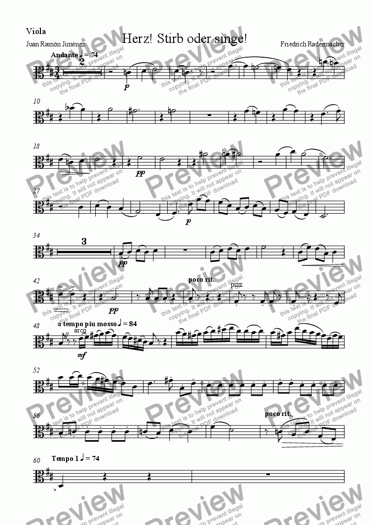page one of the Viola part from Herz, stirb oder singe