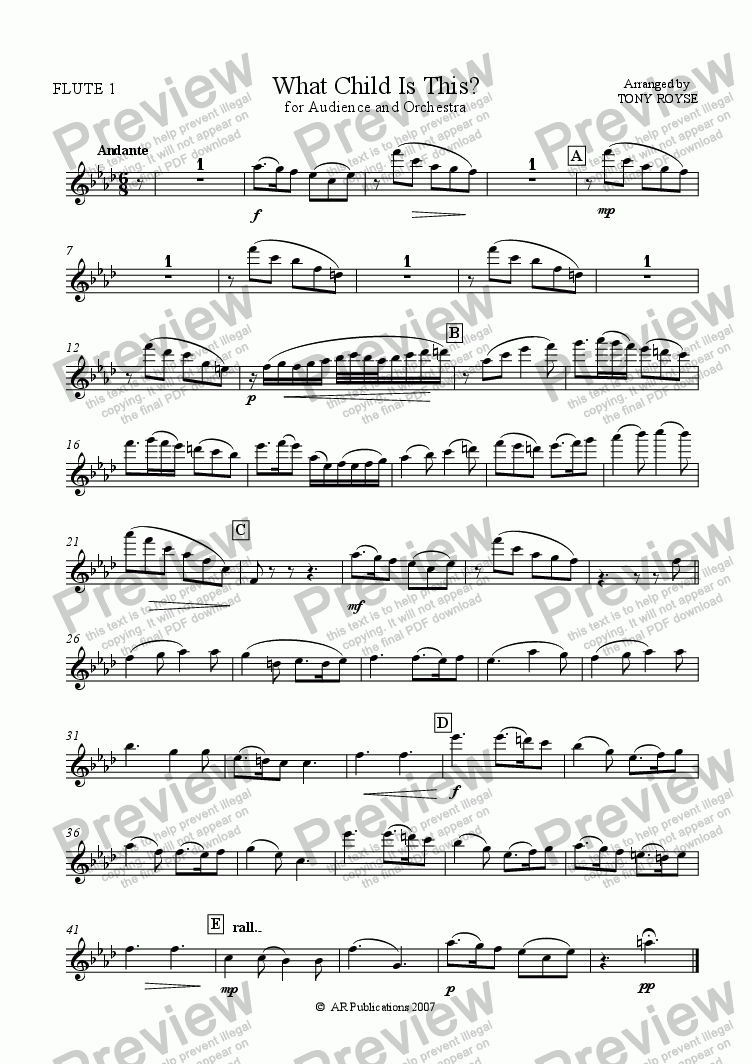 page one of the Flute 1 part from What Child Is This?