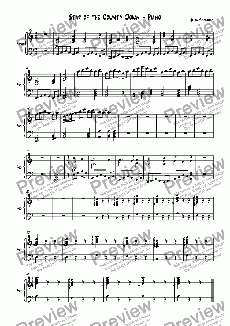 page one of the Piano part from Star of the County Down