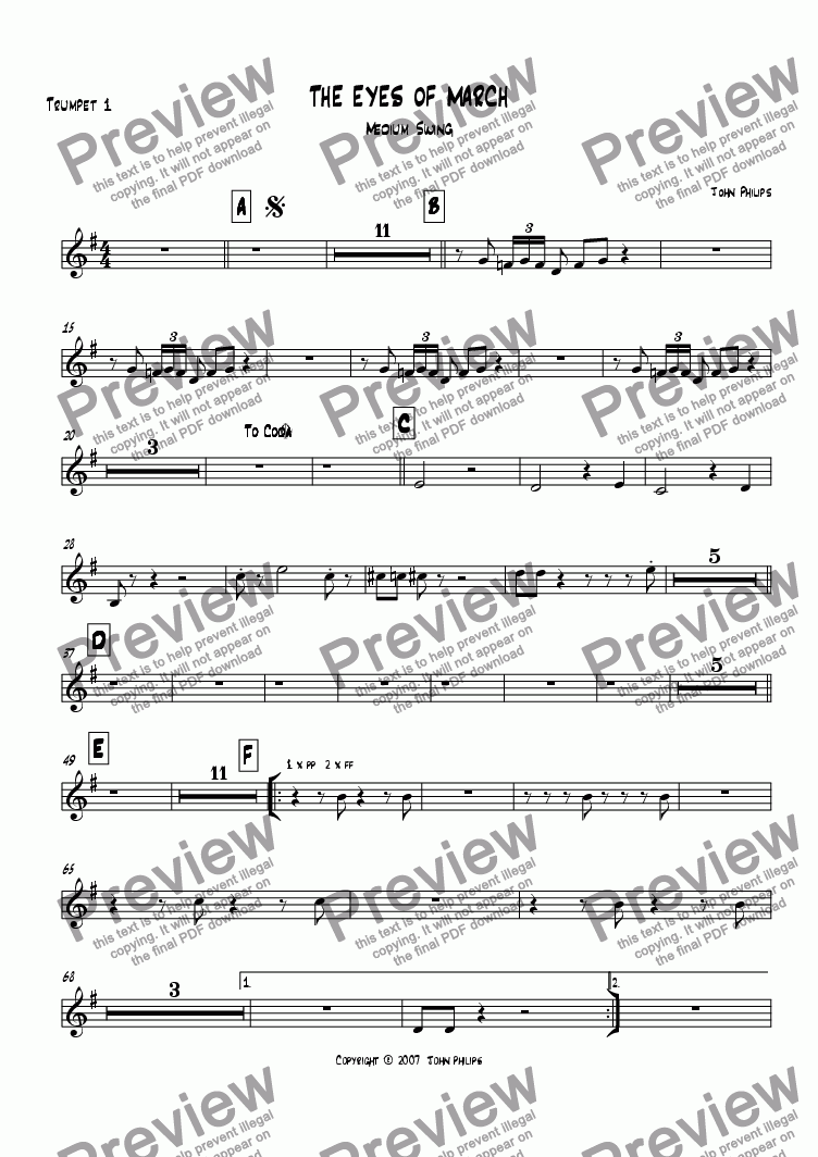 "page one of the Trumpet 1 part from ""The Eyes Of March""   Basie Style"