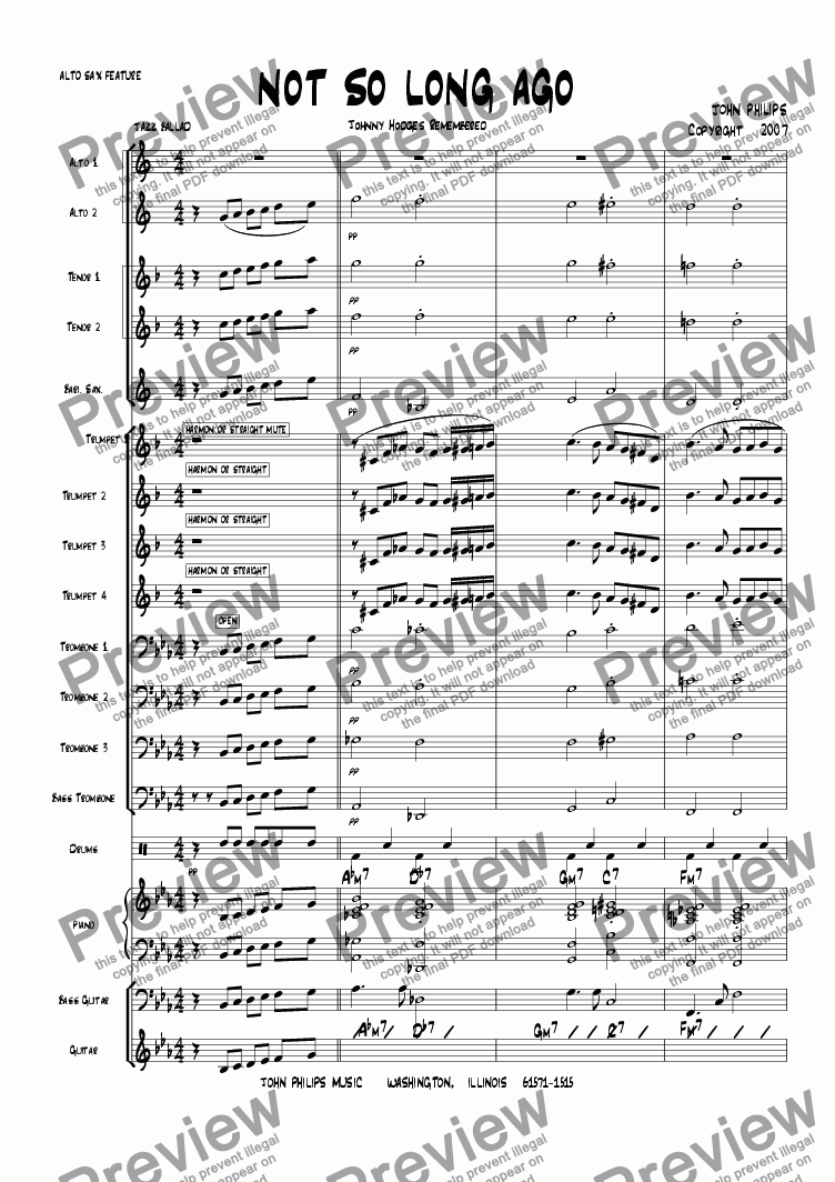 "page one of the Bass Trombone part from ""NOT SO LONG AGO""  Alto Sax Feature Ballad"