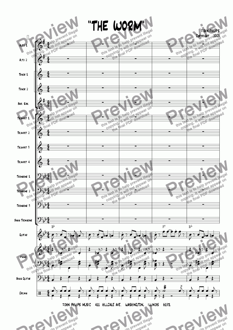 "page one of the Bass part from ""The Worm"""