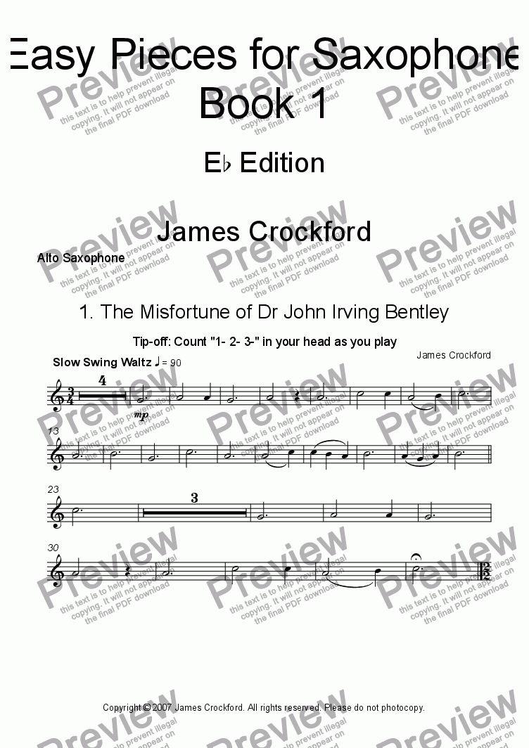 page one of the Solo Alto Saxophone part from Easy Pieces for Saxophone (Eb edition)