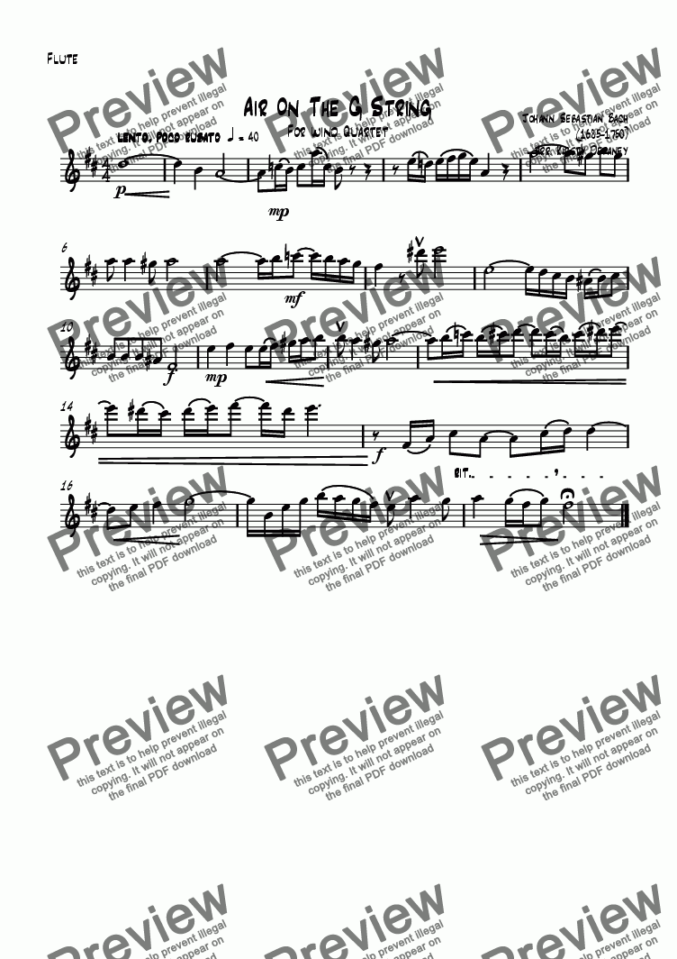 page one of the Flute part from Air on the G string (Wind Quartet)