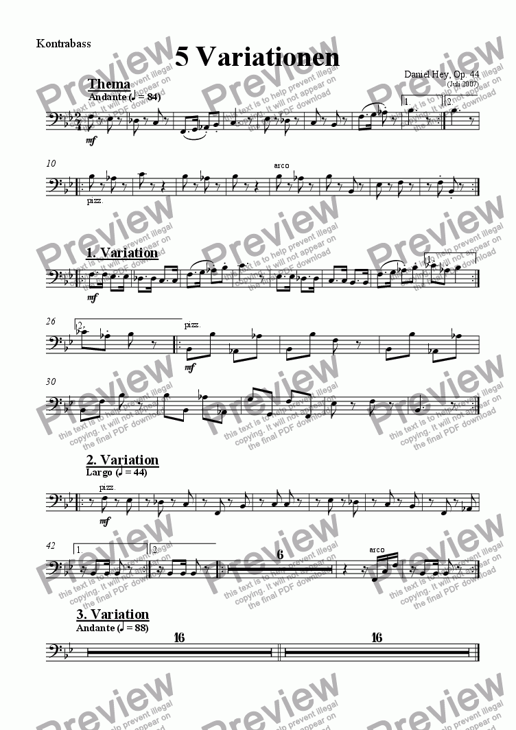 page one of the Contrabass part from 5 Variationen
