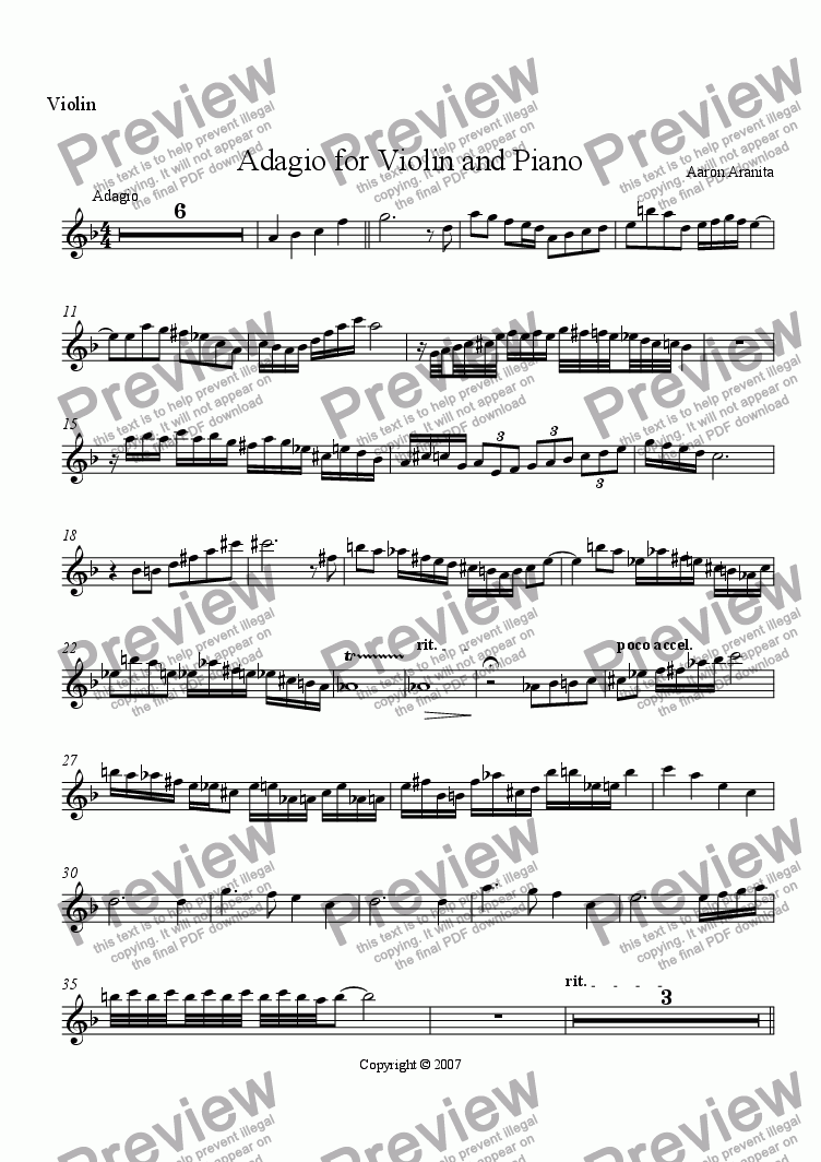 page one of the Violin part from Adagio for Violin and Piano