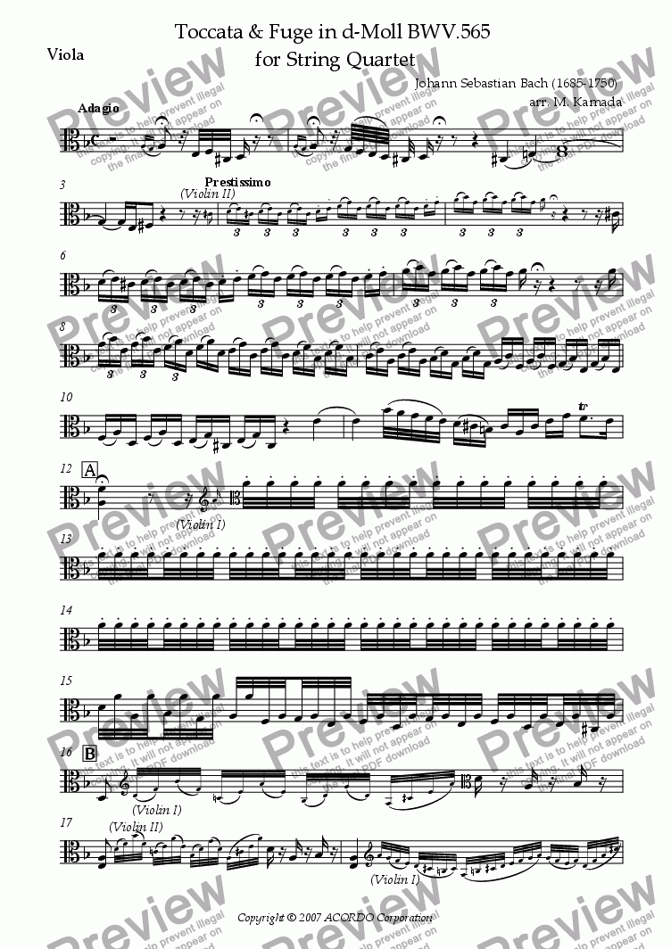 page one of the Viola part from Toccata & Fugue in D-minor BWV.565 for String Quartet