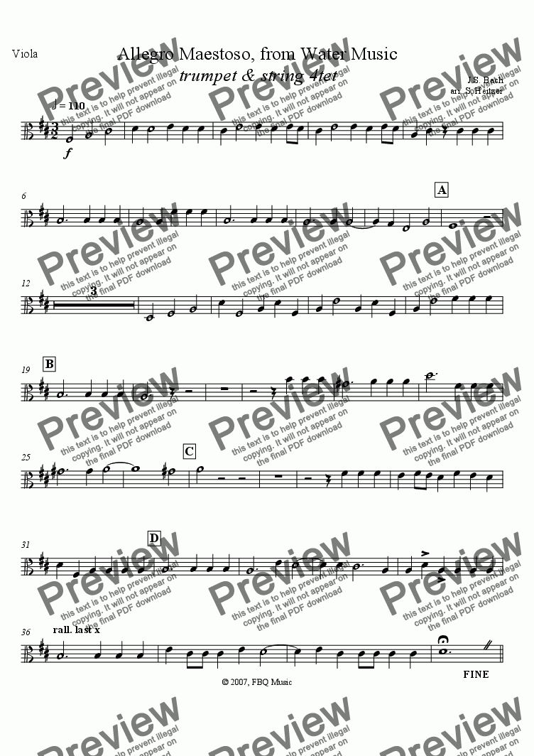 page one of the Viola part from Allegro Maestoso, Water Music (trumpet & string 4tet)