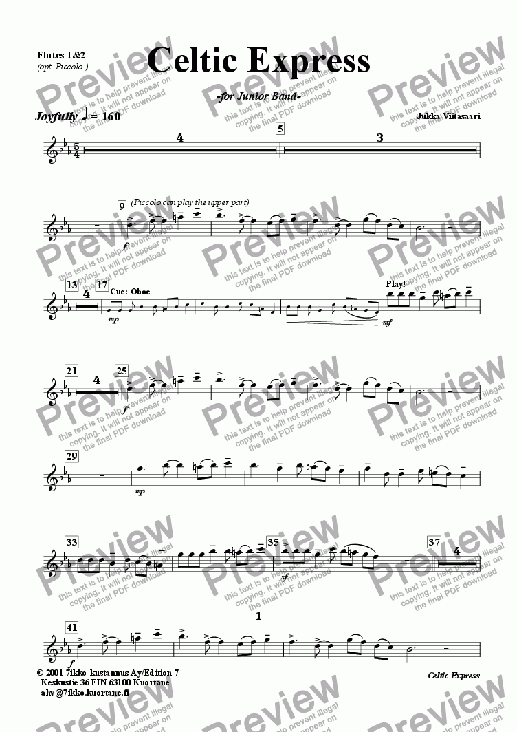 page one of the Flutes 1&2 (opt. Piccolo) part from Celtic Express (wind band)