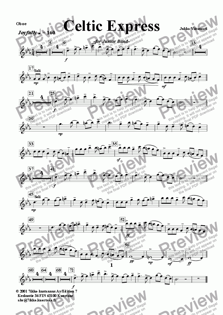 page one of the Oboe part from Celtic Express (wind band)