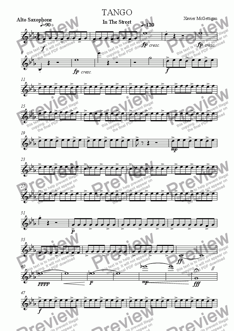 page one of the Alto Saxophone in Eb part from Tango in the Street (Saxophone Quartet)