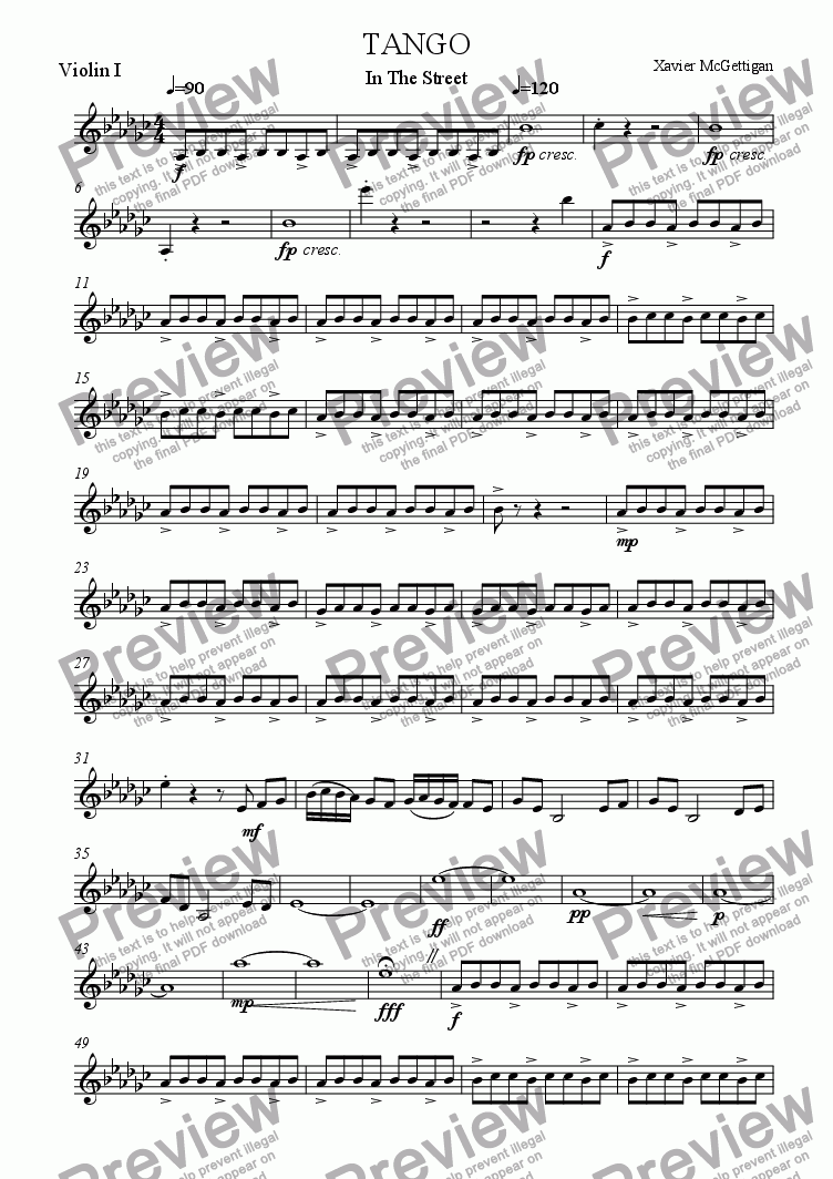 page one of the Violin I part from Tango in the Street (String Quartet)