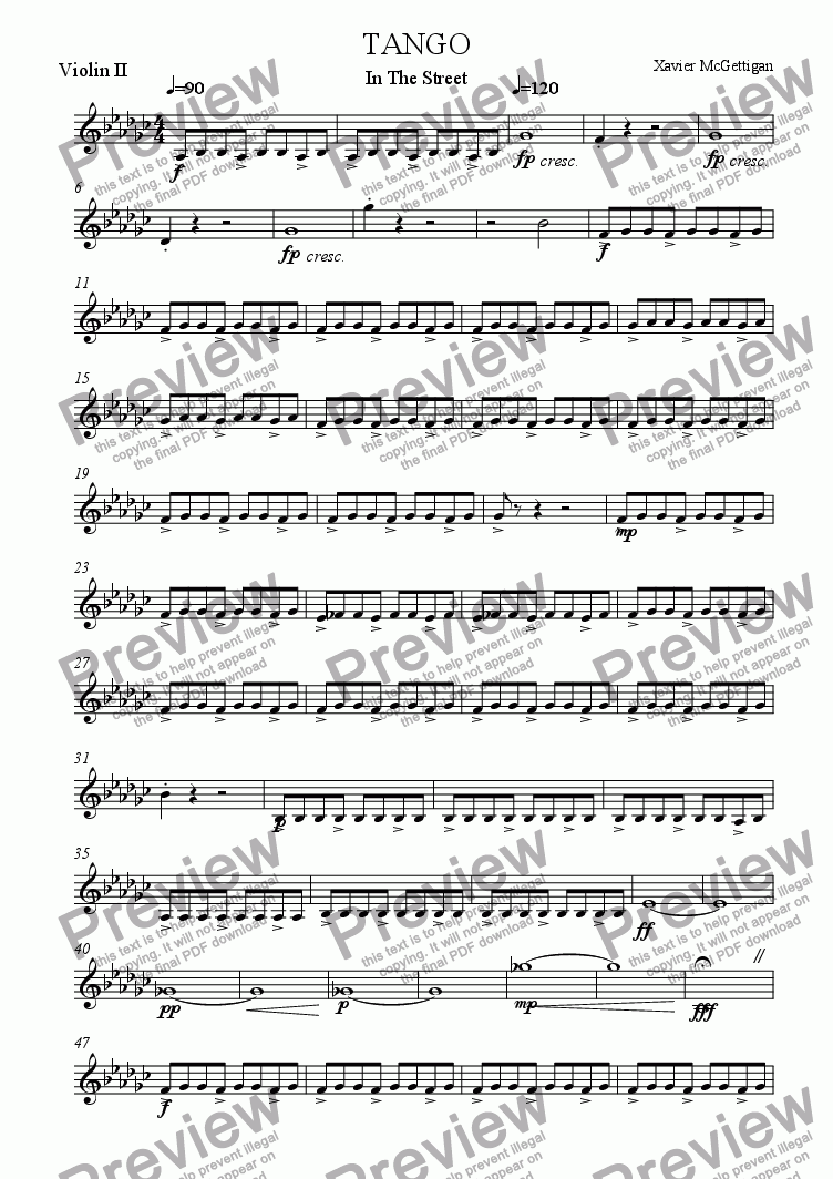 page one of the Violin II part from Tango in the Street (String Quartet)