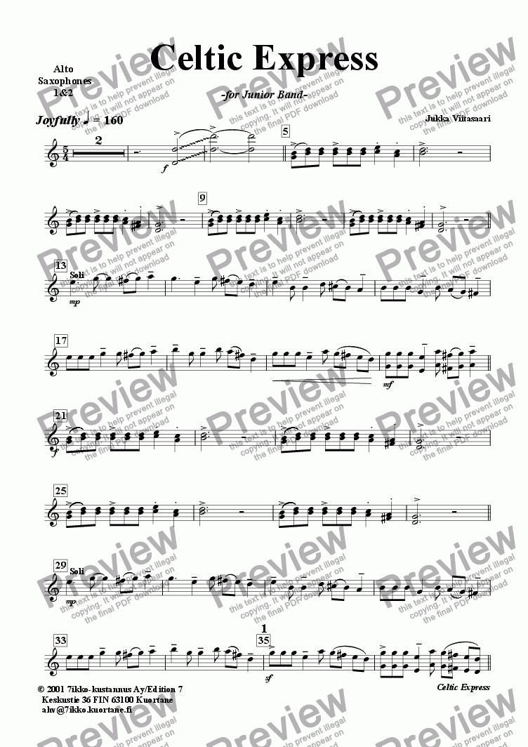 page one of the Alto Sax. 1&2 part from Celtic Express (wind band)