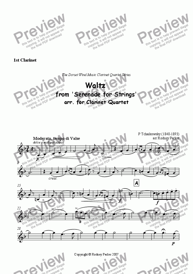 page one of the 1st Clarinet part from Waltz from 'Serenade for Strings'