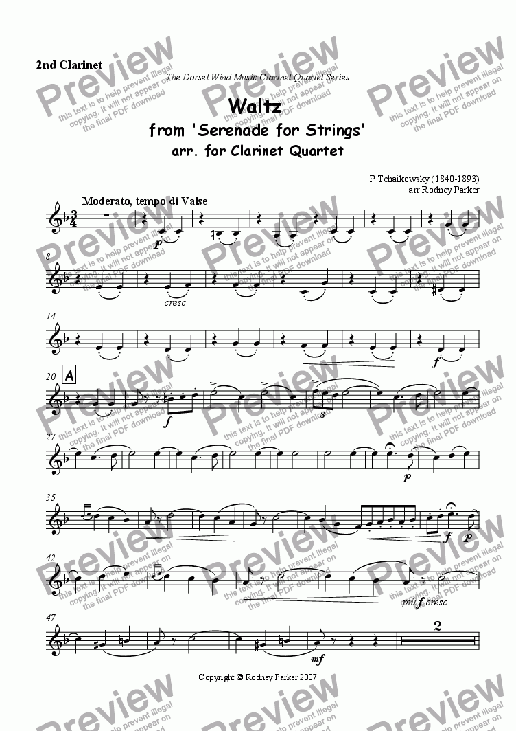 page one of the 2nd Clarinet part from Waltz from 'Serenade for Strings'