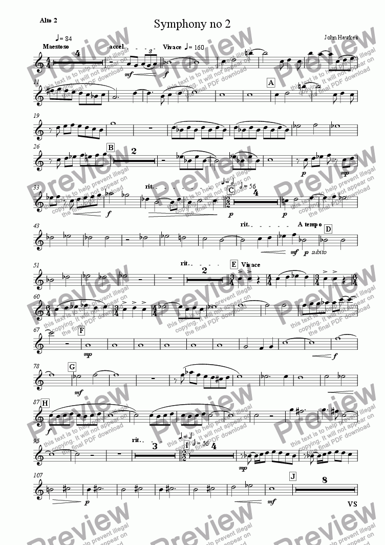 page one of the Alto 2 part from Recorder Symphony no 2
