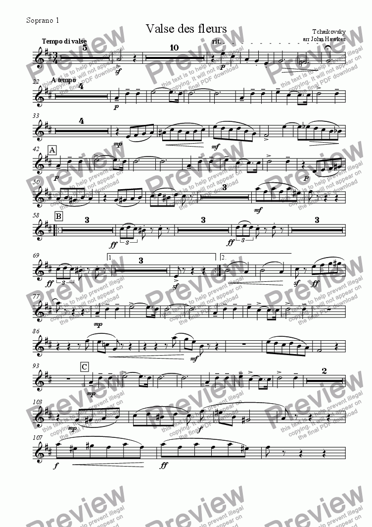 page one of the Soprano 1 part from Tchaikovsky: Valse des Fleurs