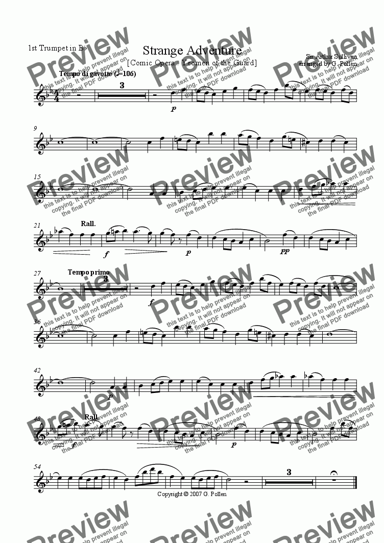 page one of the 1st  Trumpets (Cornets) part from Strange Adventure [Yeomen of the Guard] (CB)
