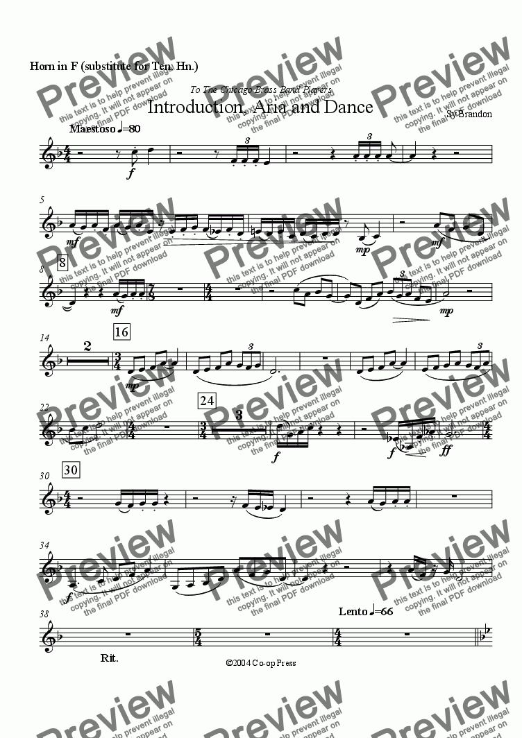page one of the Horn in F part from Introduction, Aria and Dance for Brass Band