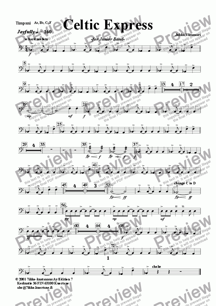 page one of the Timpani part from Celtic Express (wind band)
