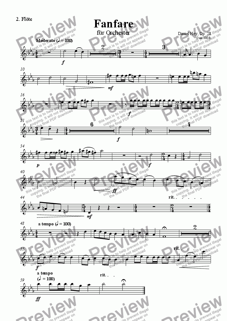 page one of the Flute 2 part from Fanfare for orchestra