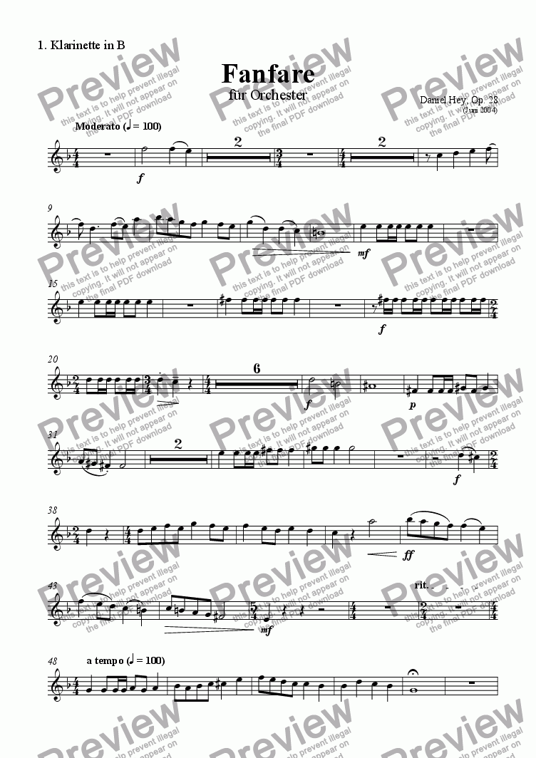 page one of the Clarinet 1 part from Fanfare for orchestra